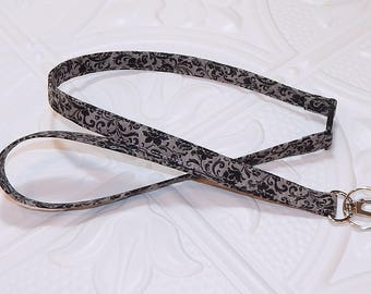 Lanyard - Id Badge Holder - Breakaway Lanyard - Teacher Lanyard - Keychain - Black And Gray Lanyard