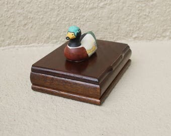 Vintage Mallard Duck Jewelry Box with Ring Slots