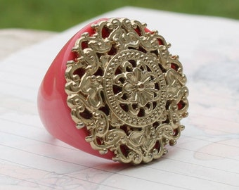 Pink Lattice Ring Chunky Statement
