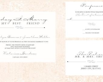 Simple Wedding Invitation, Elegant Wedding Invitation, Blush Wedding Invitation, Floral Wedding invitation