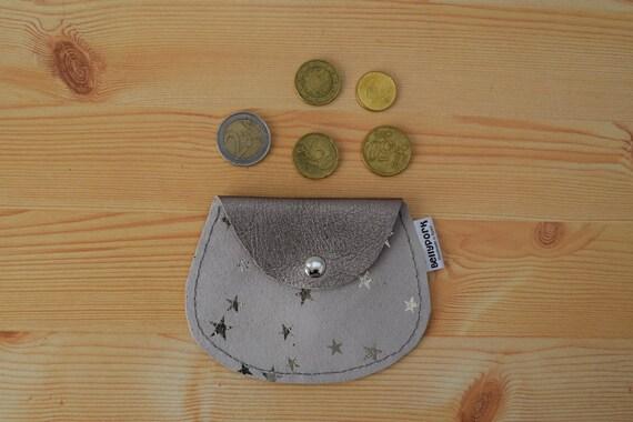Leather coin purse,stars coin purse,leather change purse,suede leather,stars print,star coin purse,womens coin purse,minimal purse