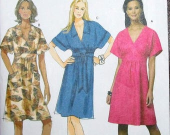 Easy Sewing Pattern Butterick 5640 Surplice Bodice Dress Cap Sleeves Midriff Women Miss Size 14 16 18 20 22 Bust 36 38 40 42 44 Uncut FF