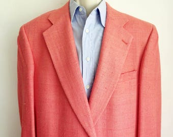 Pale Coral Raw Silk Blazer/ Vintage 2 Button Sport Coat/ Fully Lined Jacket/ 2 Button Coat/ Palm Beach Jacket/ IRVING BERLIN Hollywood, Fla