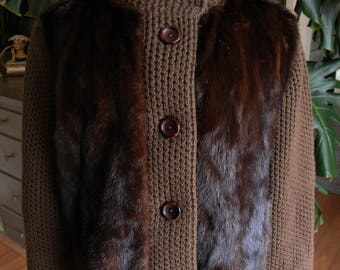 Beautiful dark mink fur sweater coat / jacket / outerwear / fall
