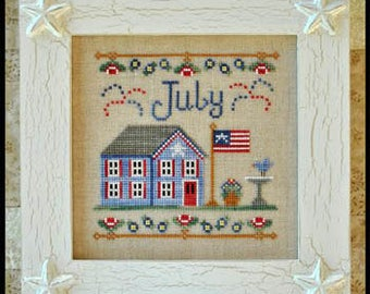 July Cottage cross stitch patterns by Country Cottage Needleworks at thecottageneedle.com Cottage of the Month smalls hand embroidery