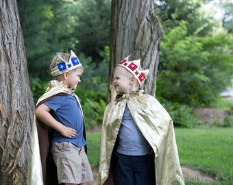 Jeweled Crown & Cape Costume Set // 2 and up // Gold with red, blue, or green jewels