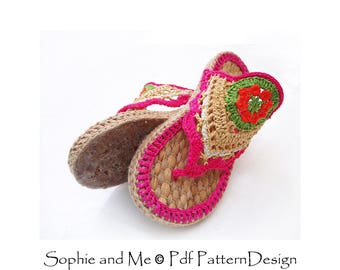 Flower Power Hippie Sandals - Crochet Pattern - Instant Download Pdf