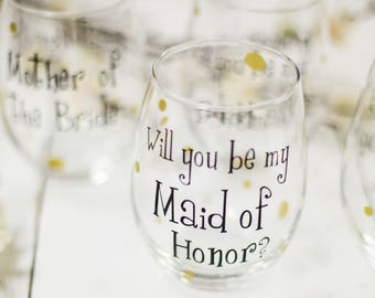 Will you be my Bridesmaid wine glass, Personalized Bridesmaid stemless glasses. Will you be my Bridesmaid? Asking Bridesmaid Will you be my