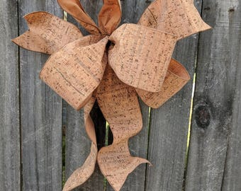 Cork Wreath Bow - Bow Wine Lover Wreath/Decorations, Everyday Bow, Napa Valley Style Wedding Bow, Asymmetrical Bow