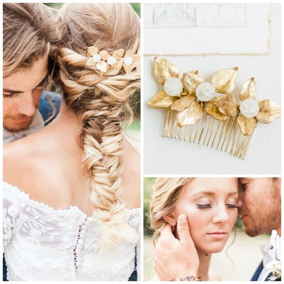 Gold Leaf Hair Comb,  Gold Leaf Hair Piece, Bridal Hair Comb, Gemstone Hair Comb, Gold Leaf Headpiece, Rose Quartz, Amazonite, Agate GEM