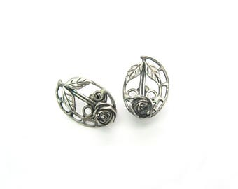 Silver Rose Earrings. Handmade Sterling, Screw Backs. Arts & Crafts Design. Prairie School Style. Vintage Mid Century Jewelry, c. 1950s