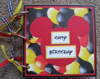 Disney Guest Book - Mickey Mouse - Balloons - Birthday