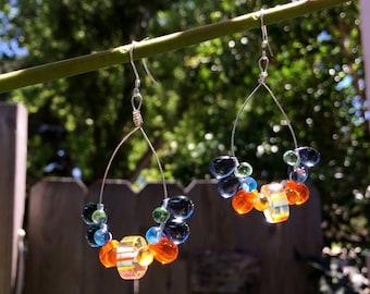 Czech Teardrop Hoop Earrings, Hoop Earrings