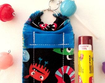 Funny Monster Chapstick Holder Keychain with Lollipop Charm, Lip Balm Holder, Gift for Girl and Boy, Women, Backpack Bling, Bag Charm