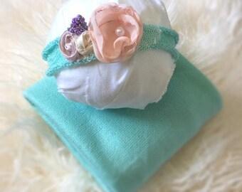 NB Aqua Stretch Wrap Set, Newborn, Baby wrap, Mint, Stretch, Photo Props, Aqua, Headband, Photography Prop, Ready To Ship, Jersey Knit, Wrap
