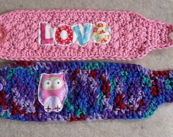 Mug/Soda-can Cozies: crochet multi-colors, pink love mug cozy, purples owl mug/can cozy (choose 1)