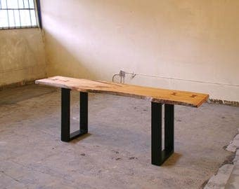 live edge sofa table - from urban salvage live edge maple and recycled content steel - natural edge - coffee table, desk