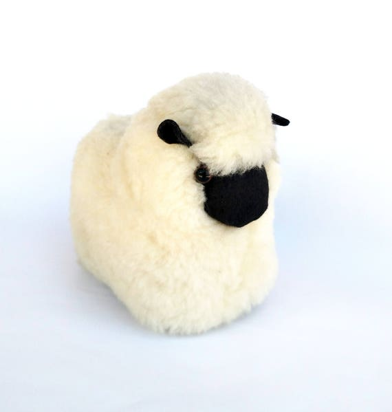 Black Faced Sheep Stuffed Figure Made From Real Pure Wool Fleece