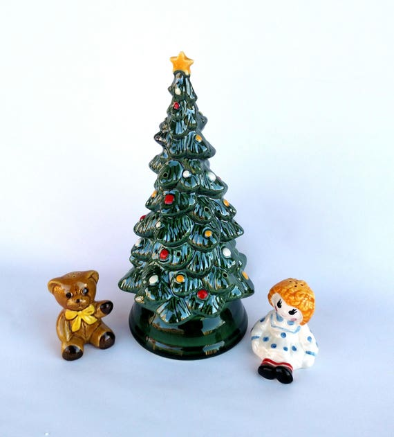 Vintage 1970's Avon Christmas Tree Hostess Set in Original Box - Includes Tree, Salt and Pepper, and Pine Fragrance Chips