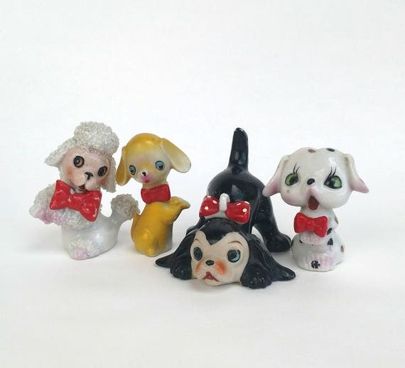 Lot of 4 Vintage Figurines - Dogs in Red Bow Ties made in Japan by Arnart