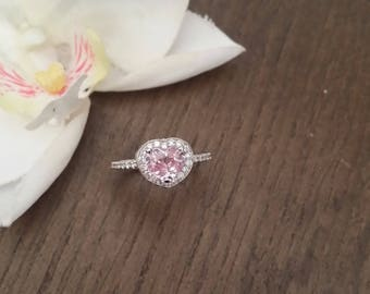 RESERVED Final Payment on Custom Order Heart Shape Peach Pink Sapphire White Gold Diamond Halo Engagement
