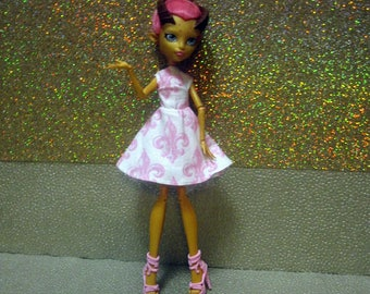 Monster High Doll Clothes - 50's Rockabilly or Skater Dress with headscarf! 2018-01-50s