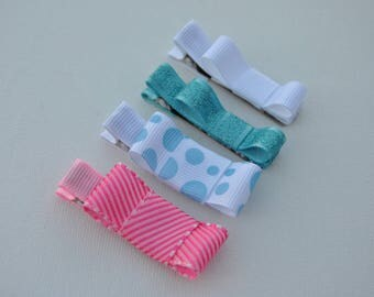 baby hair clips, no slip baby clips, baby barrettes, baby bows, no slip baby bows, toddler hair clips,  light blue clip, pink bow