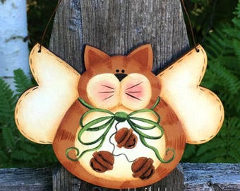 Orange tabby cat, angel ornament, kitty cat ornament, Christmas ornament, crazy cat lady gift, cat lover gift, Christmas decor, wooden cat