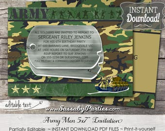 Army Men Boys Party Invitation - INSTANT DOWNLOAD - Editable & Printable Birthday Invitation, Military, Camouflage by Sassaby Parties
