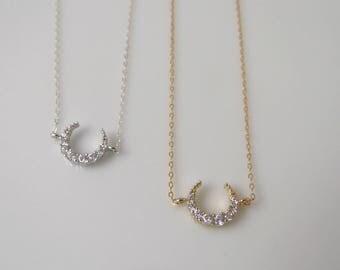 CZ side crescent necklace, upside down moon necklace, cz gold crescent, silver cz crescent, layering necklace