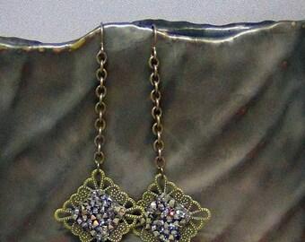 "Filigree Earrings w/ Swarovski Crystals - Antique Brass Filigree,  Multi Light Gold Crystal Rocks - 3.5"" - Hand Crafted Artisan Jewelry"