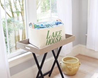 Lake House Canvas Storage Bin with Veg Leather Handles