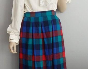 Vintage Pendleton Raspberry Teal Plaid Wool Skirt high waisted midi Skirt