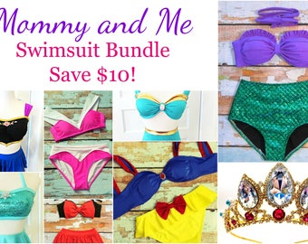 Mommy and Me Matching SWIMSUIT BUNDLE - Princess Inspired Swimsuits - Mother/Daughter Bikinis
