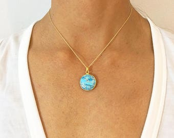 Turquoise Copper Round Pendant Necklace - Gold Necklace - Turquoise Jewelry - Pendant Necklace