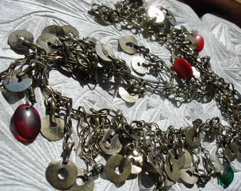 Indian Kuchi tarnished silver colour double chain with jewels