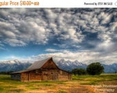 SALE 20% OFF Moulton Barn and Grand Teton Mountains Fine Art Photograph Historic Mormon Row Clouds Wyoming Landscape Photography Western Dec