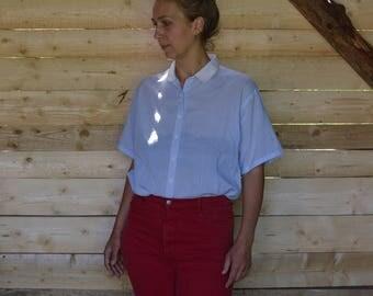 Striped shirt  Short Sleeve Shirt Women's shirt Vintage 70's