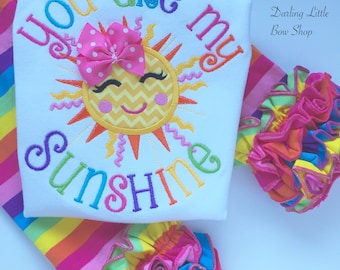 You are My Sunshine Shirt or bodysuit for girls, Sun Shirt - beautiful sunshine shirt with rainbow colors