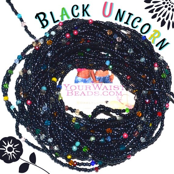 Waist Beads & More ~ BLACK UNICORN ~ YourWaistBeads.com
