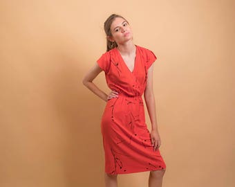 80s Wrap Dress / Paint Splatter Dress / New Wave Dress / Wrap Disco Dress Δ size: XS/S