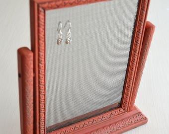 Red  Vintage Tabletop Photo Frame Earring Organizer Holder