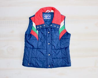 Vintage 70s Puffy Vest, 1970s Puffer Quilted Vest, Ski, Hipster, Navy, Bright, Colorful, Retro
