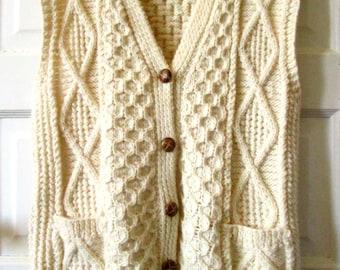 Aran Hand Knits Ivory Wool Sweater Vest M - L