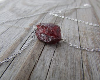 Garnet Necklace, raw gemstone, rough garnet nugget