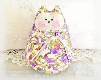 "Cat Doll 6""  Home Decor Cat Free Standing Kitty, Purple Lavender Green Ivory, Home & Living Cottage Style Prim Handmade CharlotteStyle"