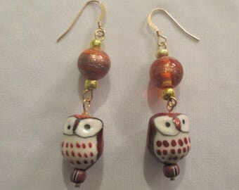Hand painted Ceramic Owl earrings - Adorable