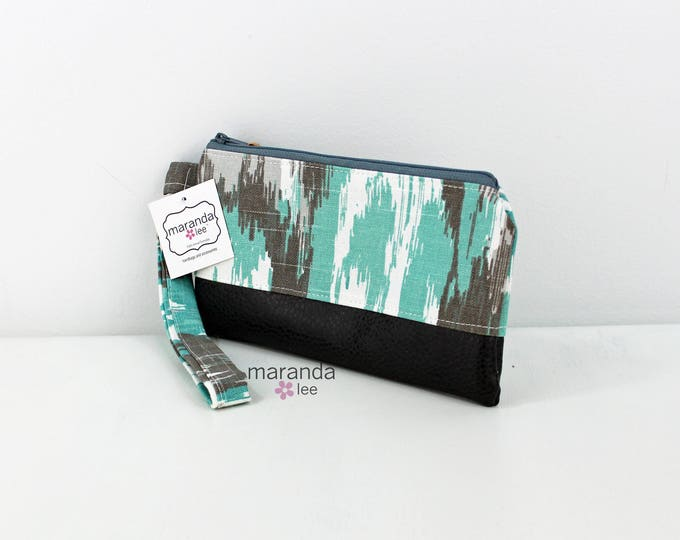 Flat Clutch - Ikat Canal with Gray PU Leather READY to SHIp