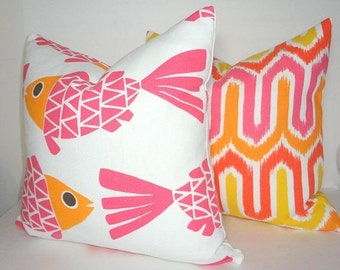 INVENTORY REDUCTION Outdoor Kaufmann Termiz Go Fish Melon Candy Pink Orange Yellow Peach Porch Pillow Cover Patio Decor Size 18x18