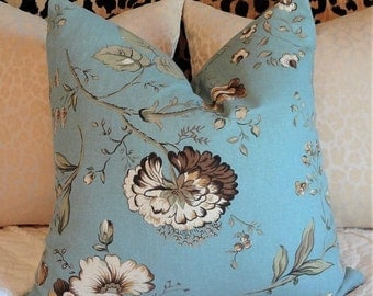 INVENTORY REDUCTION Decorative Pillow Cover Throw Pillow Robins Blue Brown Floral Accent Pillow Cover 18x18